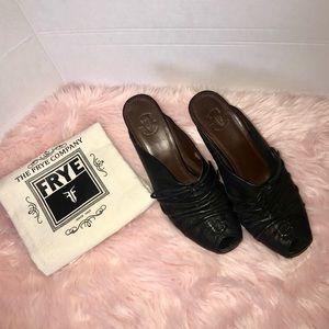 Frye Gwen black leather wedged mule